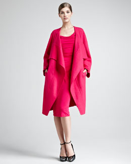 Donna Karan Double-Face Cashmere Coat & Draped Jersey Dress
