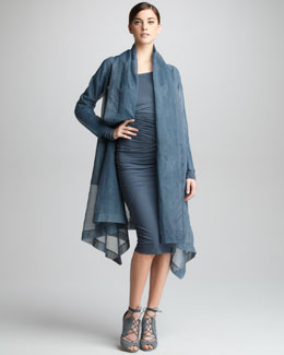 Donna Karan Organza Clutch Coat & Asymmetric Draped Dress