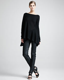 Donna Karan Long-Sleeve Trapeze Top & Jersey-Stripe Leather Pants