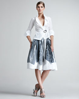 Donna Karan Paper-Cotton Origami Blouse & Crystal-Print A-Line Skirt