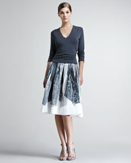 Donna Karan Shelf-Bra Jersey Top & Crystal-Print A-Line Skirt