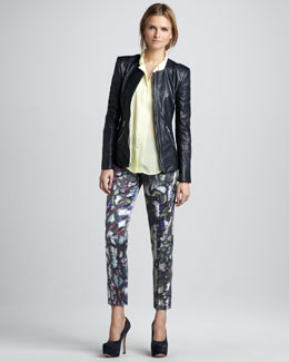 Theyskens' Theory Jadra Leather Jacket & Padgette Printed Pants