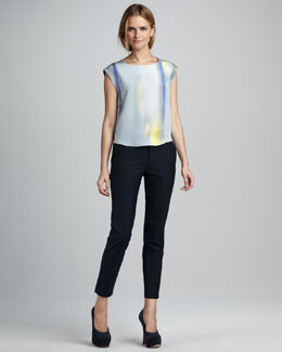 Theyskens' Theory Binta Printed Silk Blouse & Padgette Cropped Twill Trousers