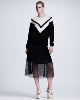 Stella McCartney Chevron Mesh Sweater & Plisse Mesh Skirt