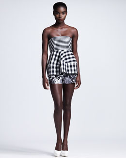 Stella McCartney Gingham Bustier & Floral-Printed Shorts