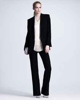 Stella McCartney One-Button Boyfriend Blazer, Fringe-Front Tee & Wide-Leg Pants