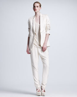 Stella McCartney Lace-Overlay Sateen Jacket, Pearl-Embroidered Tank & Eyelash Fringe-Trimmed Pants