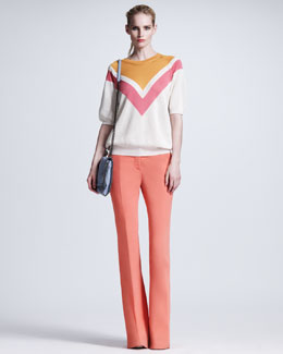 Stella McCartney Chevron Mesh Sweater & Boot-Cut Cady Trousers