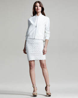 Stella McCartney Pique Bomber Jacket & Scalloped Sheath Dress