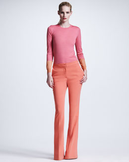 Stella McCartney Colorblock-Cuff Sweater & Boot-Cut Cady Trousers