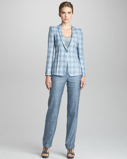 Giorgio Armani Plaid Shawl Collar Jacket, Sleeveless Mesh Blouse & Flat Front Trousers