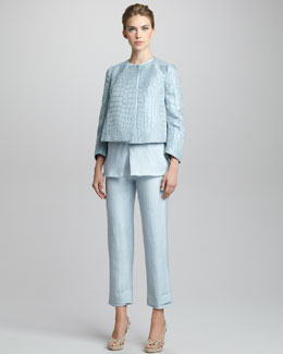 Giorgio Armani Sleeveless Drape-Front Tunic, Textured Swing Jacket & Cropped Pants
