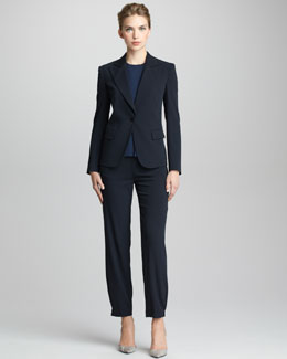 Giorgio Armani Sleeveless Blouse, Pinstriped Jacket & Pinstriped Slim Trousers