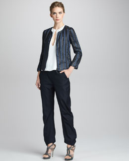 Giorgio Armani Cap-Sleeve Tunic, Woven Leather and Organza Jacket & Herringbone Pants