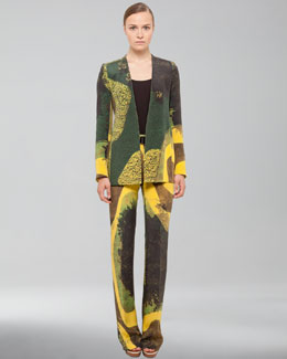 Akris Long Garden-Print Silk Crepe Jacket, Scoop-Neck Silk Georgette Tank & Garden Print Silk Crepe Pants
