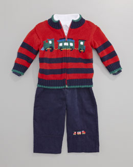 Florence Eiseman Polar Express Sweater,  Knit Polo & Corduroy Pants