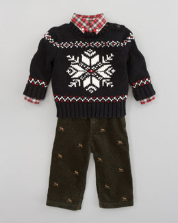 Ralph Lauren Childrenswear Tuxedo Shirt/Pants Set & Snowflake Sweater