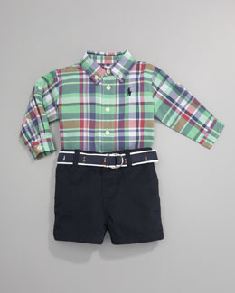 Ralph Lauren Childrenswear Polo Shirt and Plaid Shortalls Set