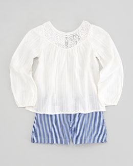 Ralph Lauren Childrenswear Embroidered-Yoke Top & Bengal Shorts