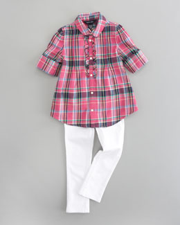 Ralph Lauren Childrenswear Plaid Tunic Top & Bowery Skinny Jeans
