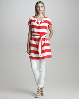Armani Collezioni Belted Nautical-Striped Tunic & Buckle-Front Cotton Twill Pants