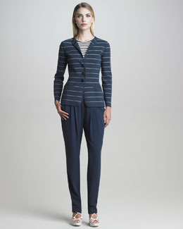 Armani Collezioni Striped Jacket, Cap-Sleeve Striped Knit Top & Tapered Silk Pants