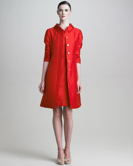 Armani Collezioni Ruched-Sleeve Gazar Coat & Short-Sleeve Dress
