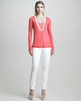 Armani Collezioni Contrast-Trimmed Cardigan, Tank & Buckle-Front Cotton Twill Pants