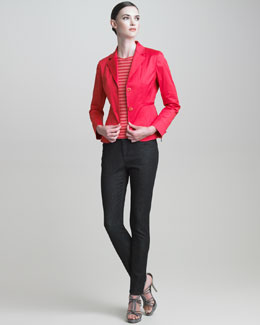 Armani Collezioni Sport Cotton Jacket, Cap-Sleeve Striped Knit Top & Stretch Skinny Jeans