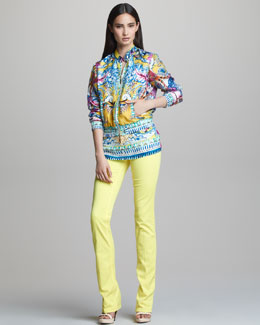 Roberto Cavalli Printed Zip-Front Silk Jacket, Scoop-Neck Short-Sleeve Tee & Straight-Leg Jeans