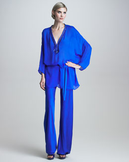 Roberto Cavalli Sequin-Trimmed Chiffon Tunic & Gathered-Cuff Silk Pants