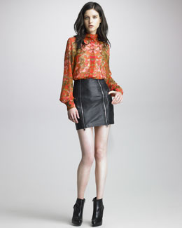 McQ Alexander McQueen Petal-Print Silk Blouse & Zipped Leather Miniskirt
