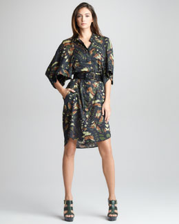 McQ Alexander McQueen Dragonfly Wing-Print Dress & Grommet-Detailed Belt