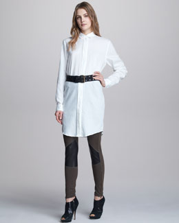 McQ Alexander McQueen Open-Back Blouse, Jodhpur Leather-Denim Leggings & Grommet-Detailed Belt