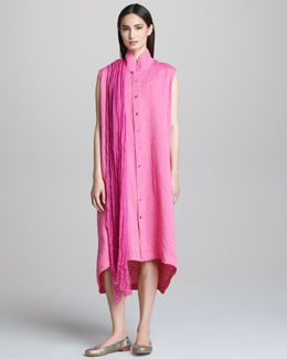 eskandar Sleeveless Dress with Chinese Collar & Crinkled Scarf