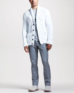 Maison Martin Margiela Hand-Knit Cable Cardigan, Radio-Print Silk Tee & Slim Striped Trousers