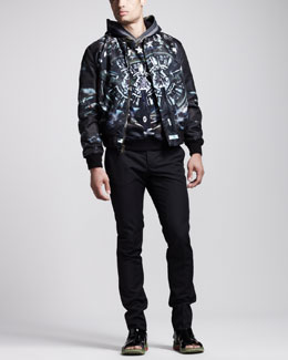 Givenchy Plane-Print Reversible Bomber Jacket, Hoodie & Piped Slim Pants