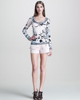 Emilio Pucci Border-Print Tee & Sateen Flap-Pocket Shorts