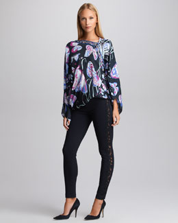 Emilio Pucci Asymmetric Butterfly-Print Blouse & Lace-Trimmed Leggings