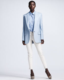 Stella McCartney Peaked-Lapel One-Button Blazer, Short-Sleeve Poplin Blouse & Fringe-Hem Skinny Jeans