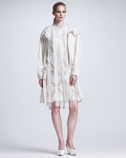 Stella McCartney Long Twill Parka & Fringed Floral Lace Dress
