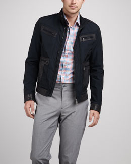 Etro Croc-Embossed Field Jacket & Check Sport Shirt