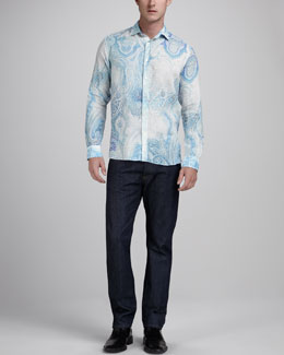 Etro Paisley Linen Sport Shirt & Dark Regular-Fit Jeans