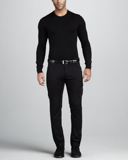 Ralph Lauren Black Label Leather-Trim Merino Sweater & Firenze Cargo Pants