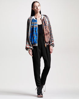 Givenchy Paisley-Print Satin Bomber Jacket & Slim Pleated Pants