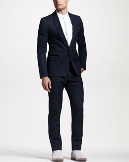 Maison Martin Margiela Satin-Trim Cotton Evening Suit & Sleeveless Tuxedo Shirt