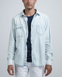 Rag & Bone Bleached Denim Shirt & Basic Pocket Tee
