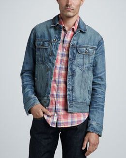 Rag & Bone Medium-Wash Denim Jacket & Yokohama Plaid Sport Shirt