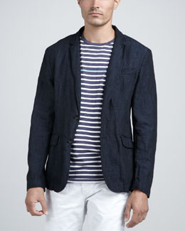 Rag & Bone Phillips Cotton/Linen Blazer & Thin-Stripe Tee