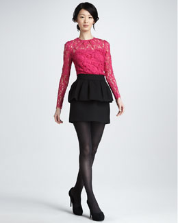 Milly Ivy Sheer-Top Lace Blouse & Laurel Peplum-Waist Skirt
